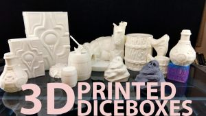 Support-free Dice Boxes and Tower for 3D Printing