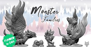 Monster Families - 3D supportless printable miniatures
