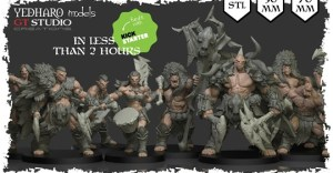 Savage Orc Miniatures by Yedharo / GT Studio. 30 - 70 mm STL