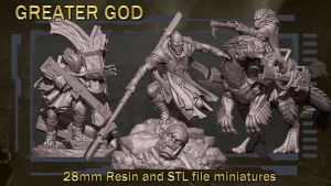 Greater God 28mm resin miniatures and STL files