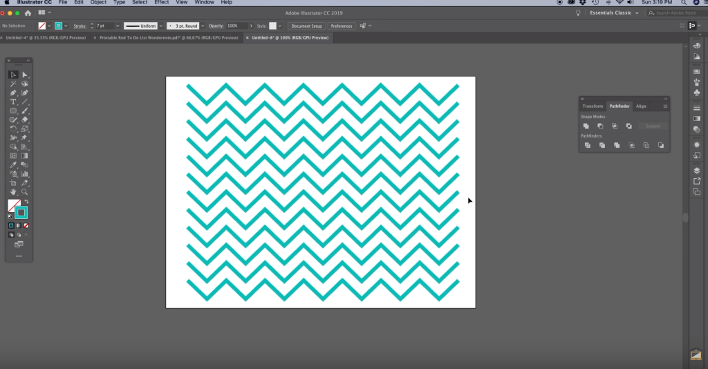 You can adjust the stroke or change the number of chevrons in your pattern. any change you make will affect the whole pattern