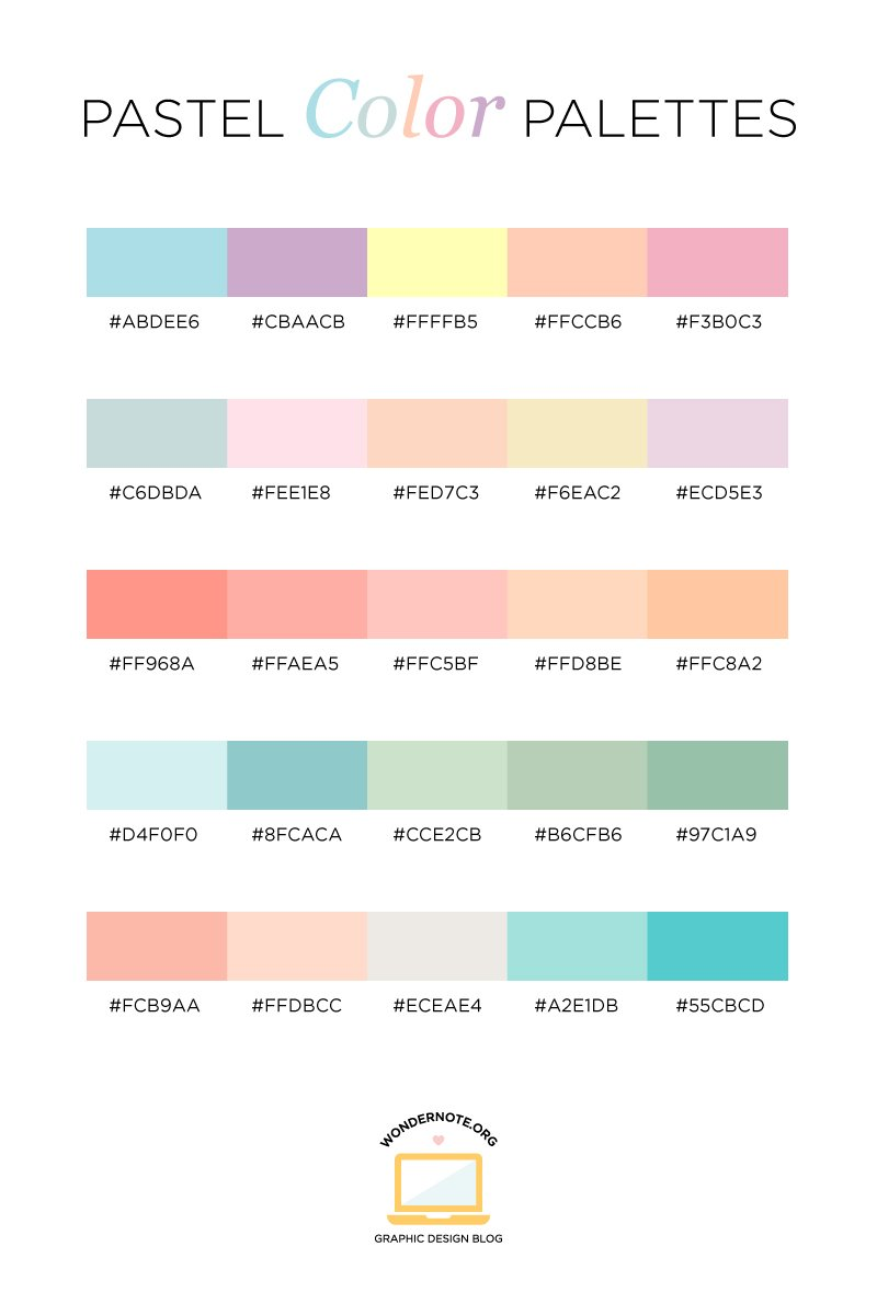 Pastel Color Palette for Graphic Web Print Design Wondernote