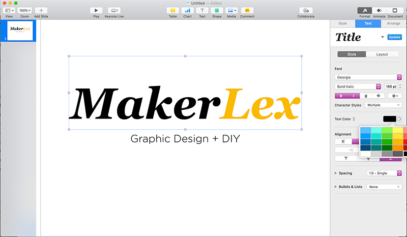 Make a Free Youtube Video Intro in Keynote - Step 2 - Type out your brand name or insert your logo and style the text