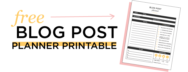 Free Blog Post Printable Planner Page Download