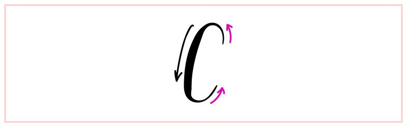 letter C how to fake calligraphy up stroke thin and down stroke thick