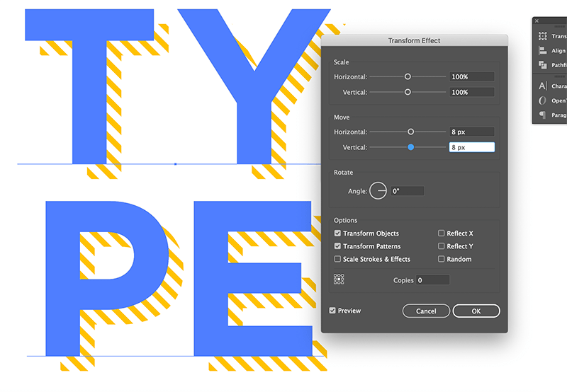 offset the hatch pattern fill layer in the appearance menu
