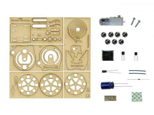 Layout of kit contents for marble machine