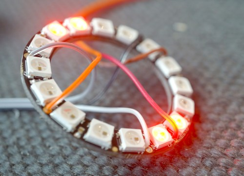 Neopixel ring Wiring Closeup