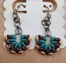 Half moon fan earrings blue and gold shanna s