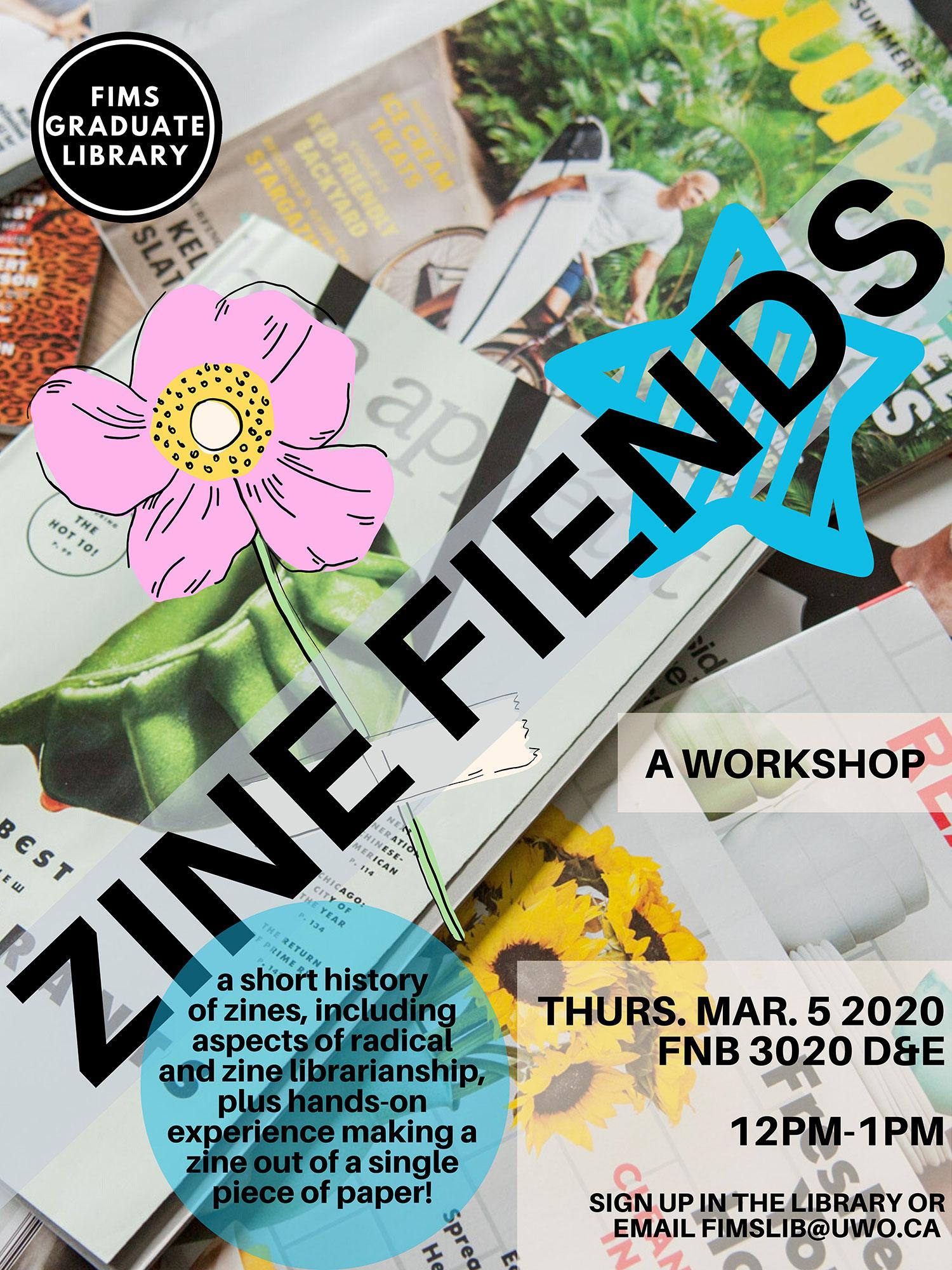 Zine Fiends Workshop poster