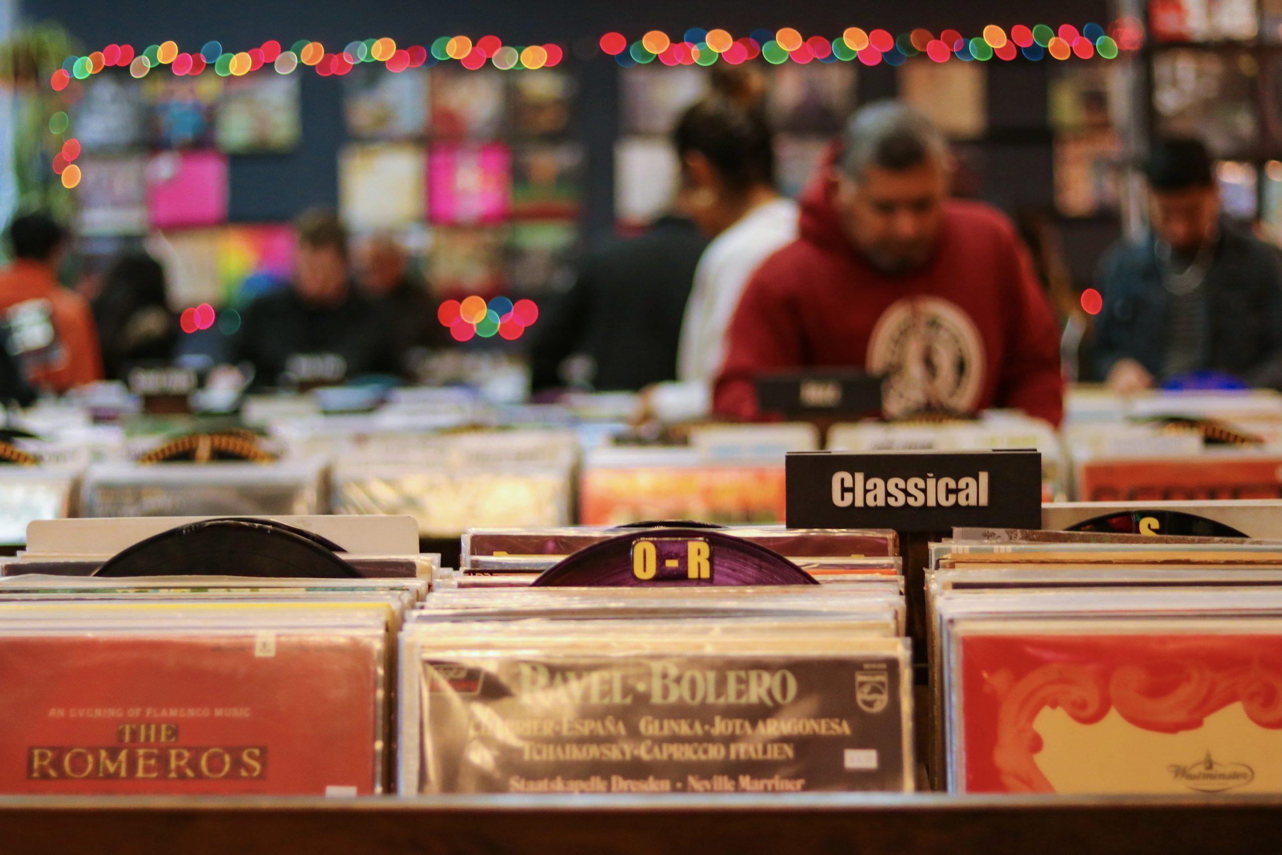 Inside a record shop, Los Angeles