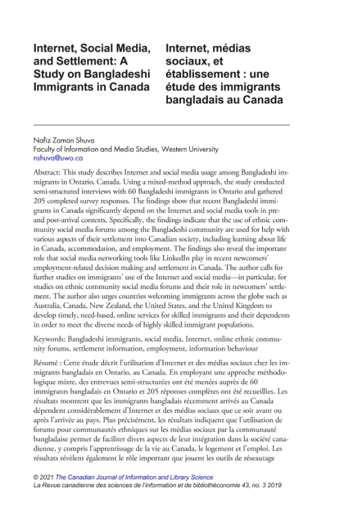 Article: Internet, Social Media, and Settlement: A Study on Bangladeshi Immigrants in Canada