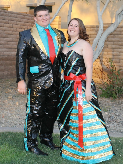 blue and black duct tape prom attire