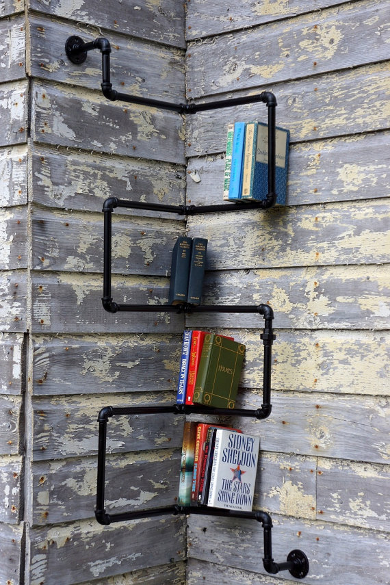 Industrial style pipe bookshelf