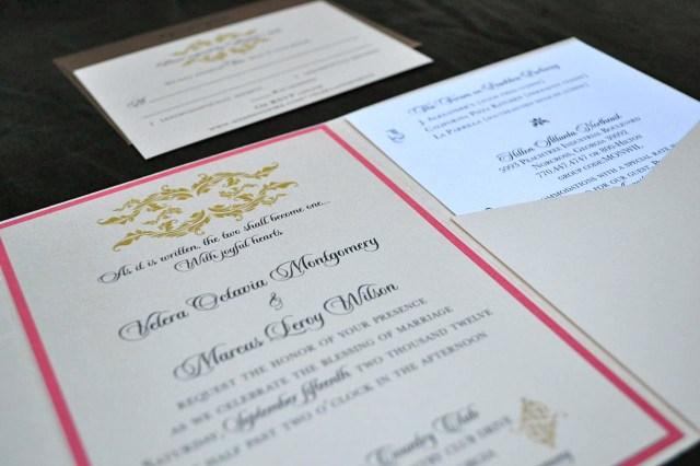 pocket-fold wedding invitation
