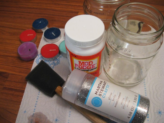 coat the jar with Mod Podge