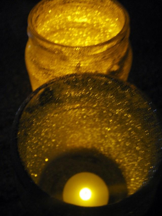 DIY glitter candle jars