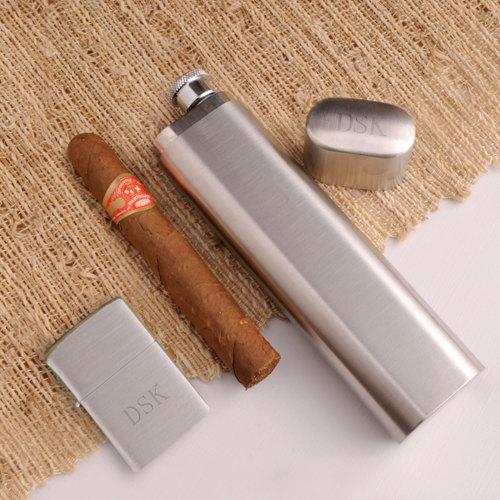 Cigar Case, Flask, Zippo Lighter Combo