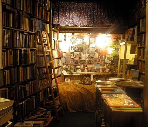cluttered bookshelf
