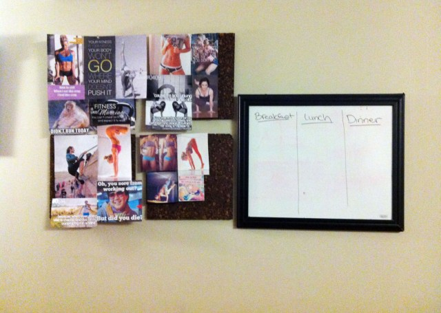 motivation board with meal organizer