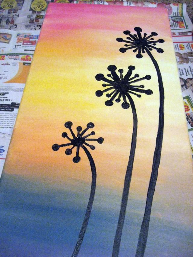 dandelion silhouette painting