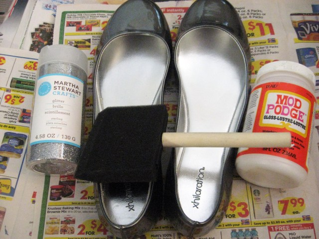 DIY glitter flats materials