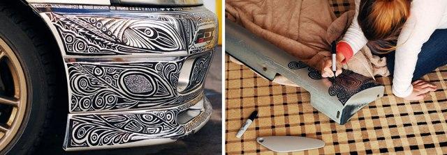 Sharpie doodles on car bumper