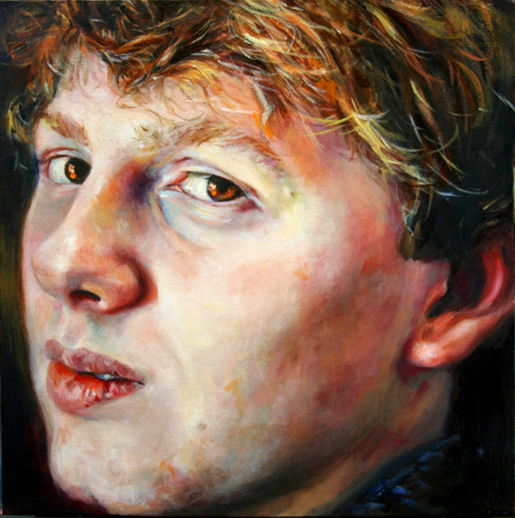 Elena Caravela: blonde boy painting