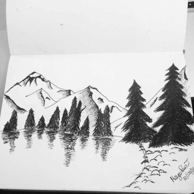 Mountains and pine trees drawing