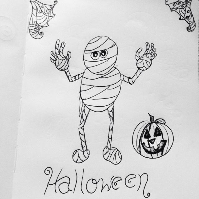 Happy Halloween mummy and pumpkin