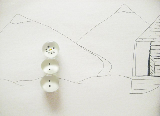 DIY snowman magnet on winter scene