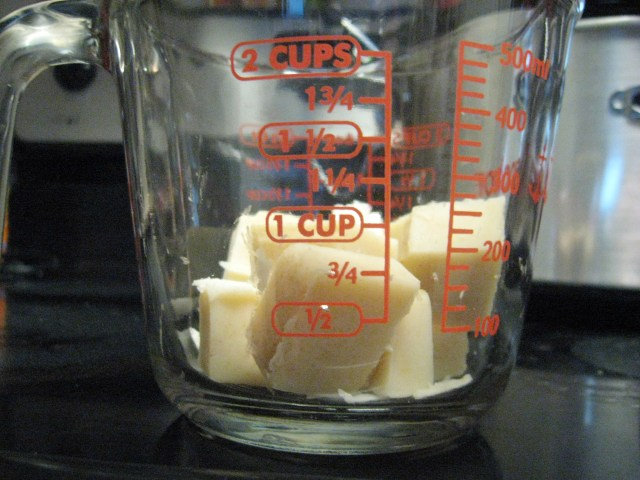 soap cubes in measuring cup