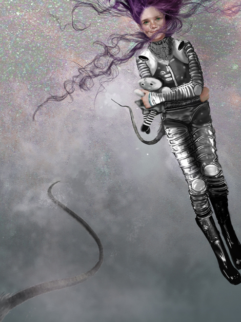 Elena Caravela: space girl painting