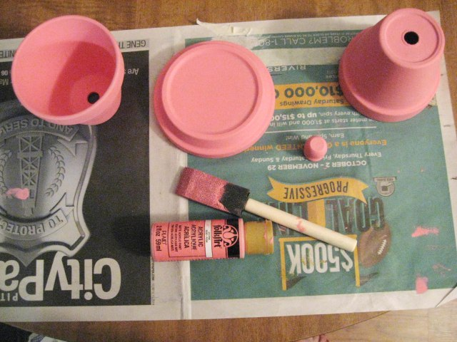 pink terra cotta pots