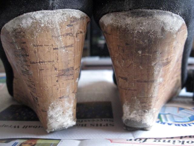 roughed up wedge heels