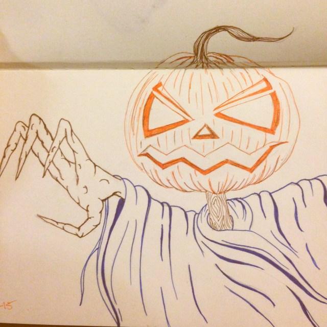angry jack-o-lantern drawing