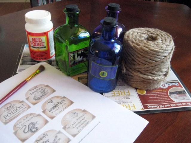 halloween potion bottle materials