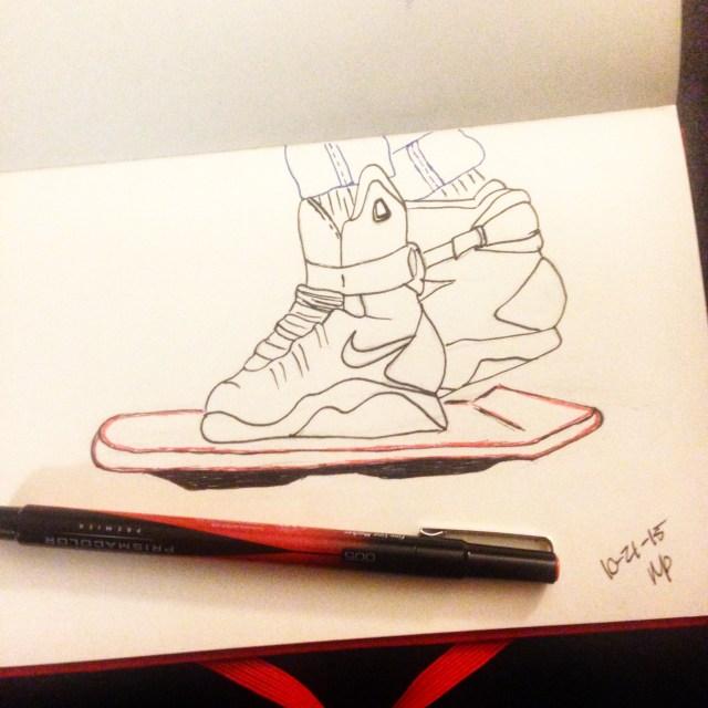 hoverboard bttf inktober drawing