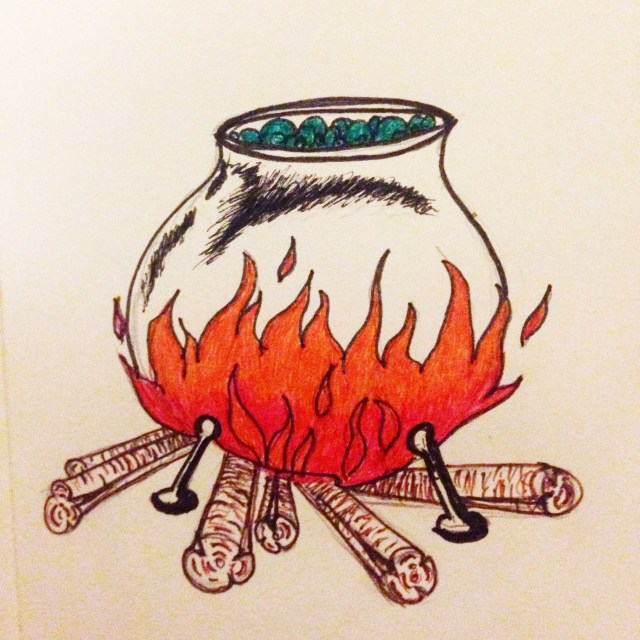 inktober cauldron drawing