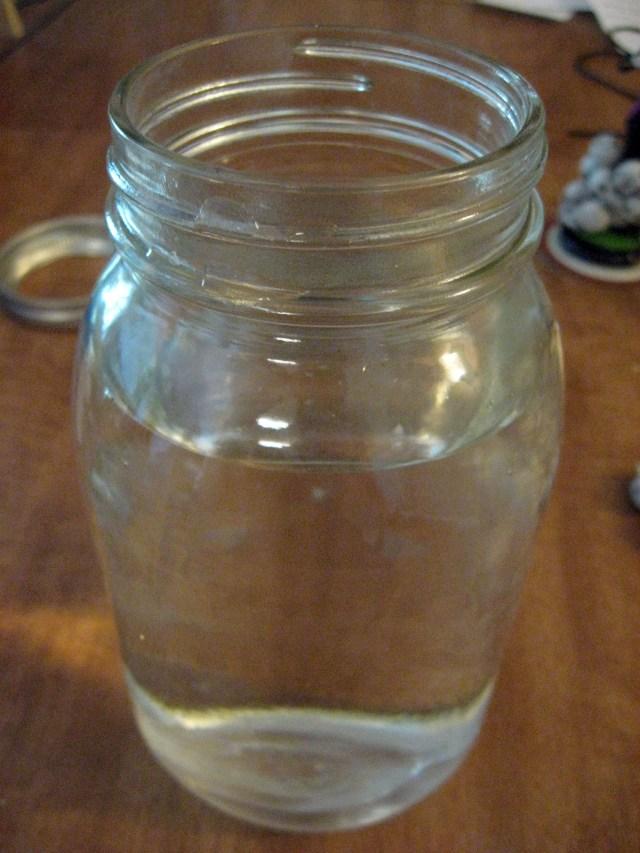 water filled Mason Jar