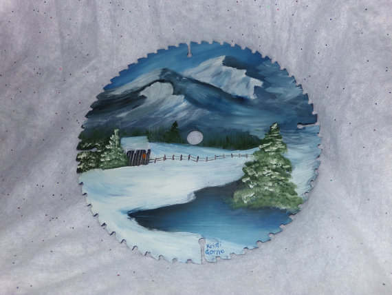 landscape art painted on a saw blade