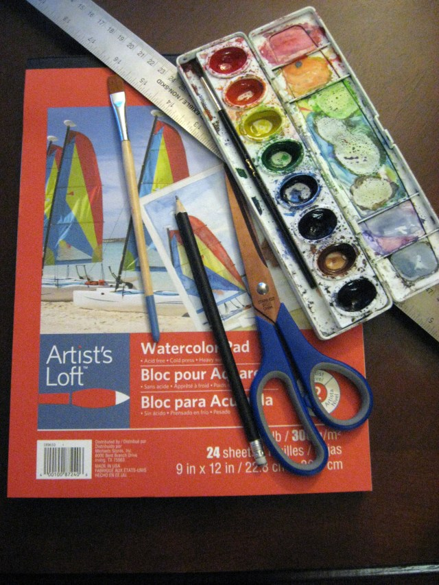 Materials for watercolor bookmarks