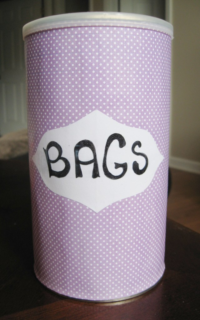 DIY upcycled grocery bag storage container