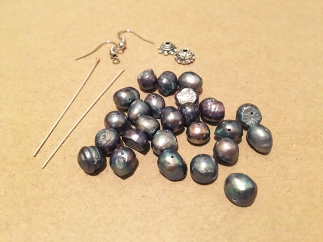 materials for DIY bead string earrings