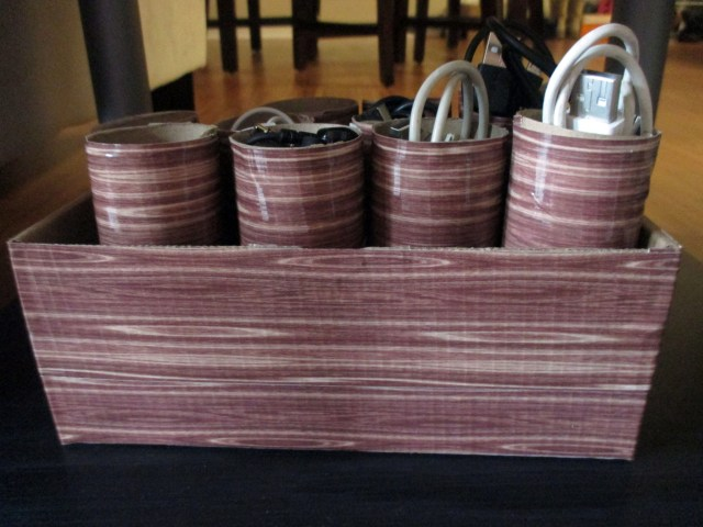 DIY Upcycled cord and storage organizer