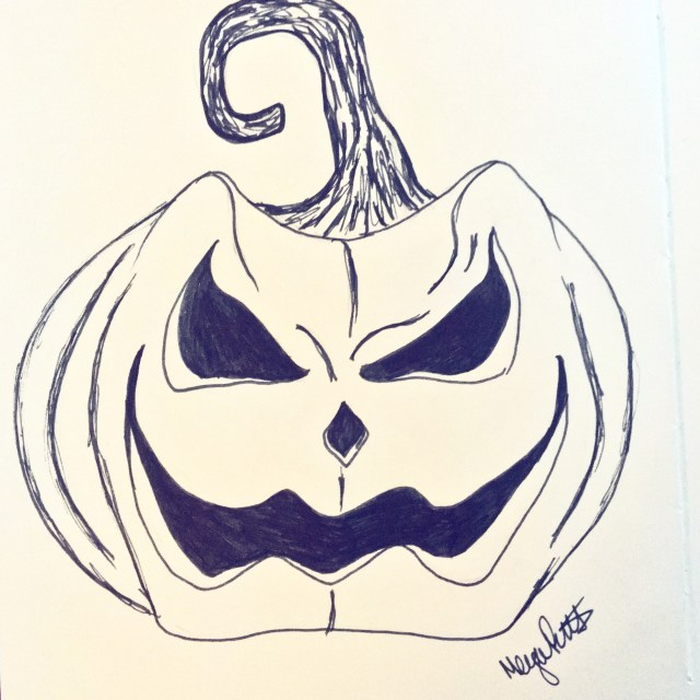 angry pumpkin drawing