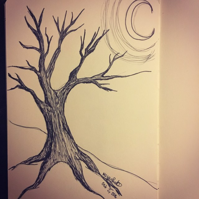 dead tree on the hill - inktober 2016