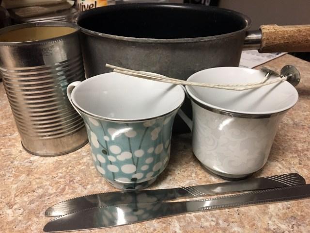 DIY Teacup Candles supplies