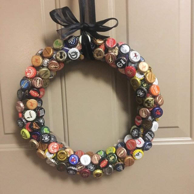 diy bottle cap wreath