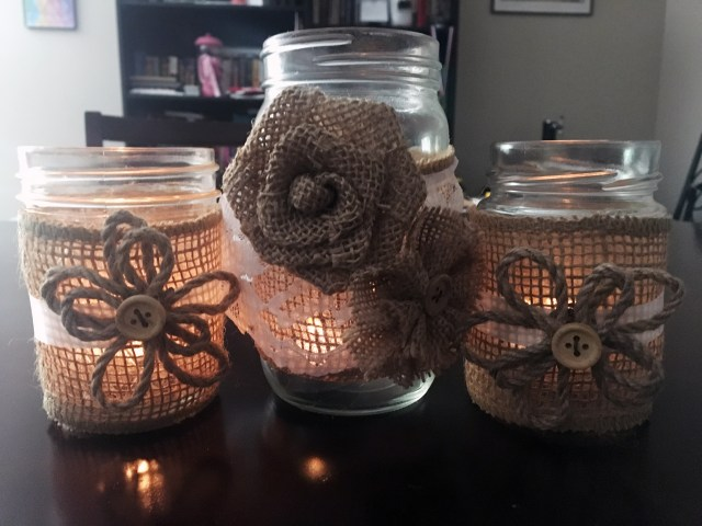 DIY candle holders from recycled jars